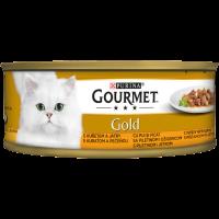 PURINA® GOURMET® Gold Котки в зряла възраст,Хапки в Сос,Пиле и Дроб, Мокра храна, Консерва, 85 g