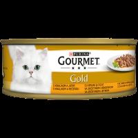 PURINA® GOURMET® Gold Котки в зряла възраст,Двойно удоволствие, Заек и Дроб, Мокра храна, Консерва, 85 g