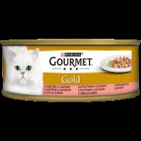 PURINA® GOURMET® Gold Котки в зряла възраст,Хапки в Сос,Пиле и Сьомга, Мокра храна, Консерва, 85 g