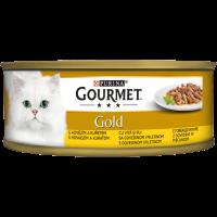 PURINA® GOURMET® Gold за Котки в зряла възраст,Двойно удоволствие, Говеждо и Пиле, Мокра храна, Консерва, 85 g