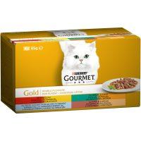 PURINA® GOURMET® Gold за котки в зряла възраст, Двойно удоволствие, Асортимент, Мокра храна, Картонена кутия,4х 85 g