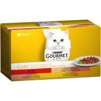 PURINA® GOURMET® Gold за котки в зряла възраст, Хапки в сос, Асортимент, Мокра храна, Картонена кутия,4х 85 g