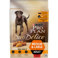 Пълноценна храна Pro Plan® DUO DELICE с Говеждо за кучета в зряла възраст от средни и големи породи, суха храна, 2,5 kg