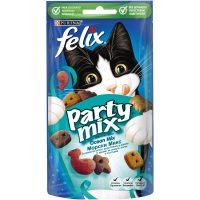 PURINA® FELIX® PARTY MIX Ocean Mix допълваща храна – лакомство с аромат на сьомга, полок и пъстърва, 60g