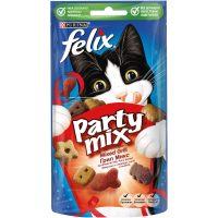 PURINA® FELIX® PARTY MIX Grill Mix допълваща храна – лакомство с аромат на говеждо, пиле и сьомга, 60g