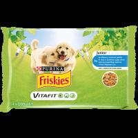 PURINA®FRISKIES® за малки кученца, Пиле и Морков ,Пауч, Мултиопаковка 4х100g