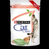 PURINA® CAT CHOW® SENSITIVE, за котки с чувствителен стомах над 1 година със Сьомга и Тиква, Мокра храна, Пауч в сос, 85g