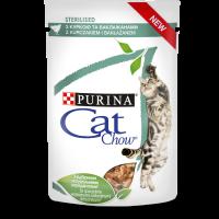 PURINA® CAT CHOW® STERILISED, за кастрирани котки над 1 година с Пиле и Патладжан, Мокра храна, Пауч в сос, 85g