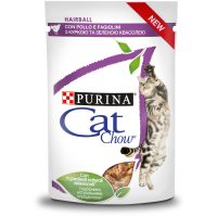 PURINA® CAT CHOW® HAIRBALL CONTROL, за космени топки с Пиле и Зелен фасул, Мокра храна, Пауч в сос, 85g