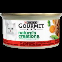 PURINA GOURMET™ Nature's Creations, с високо съдържание на Говеждо, гарнирано с грах и моркови, Мокра храна, Консерва, 85g