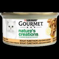 PURINA GOURMET™ Nature's Creations, с Високо съдържание на Пуйка, гарнирана с пащърнак и спанак, Мокра храна, Консерва, 85g