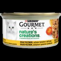 PURINA GOURMET™ Nature's Creations, с Високо съдържание на Пиле, гарнираносъс спанаки домати, Мокра храна, Консерва, 85g