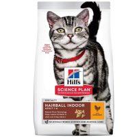 Hill's Science Plan Adult Hairball Indoor Cat с пилешко – пълноценна храна за котки, живеещи на закрито, за намаляване на космените топки, 1-6 год – 10 кг