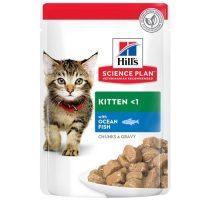 Hill's Science Plan Kitten пауч с океанска риба – Пълноценна храна за котенца до 1 год. и за бременни/кърмещи котки – 12x 85 гр
