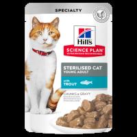 Hill's Science Plan Sterilised Cat Young Adult с пъстърва – малки късчета в сос Грейви за млади кастрирани котки от 6 мес. до 6 год. – 12×0,85