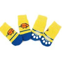 Чорапи за кучета или котки размер М, нехлъзгащи се със пиленце, 4 броя