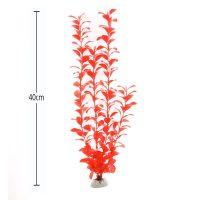 Растение за аквариум от мека пластмаса 40 см цвят червен