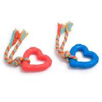 Гумено сърце с въженце 19 см играчка за куче