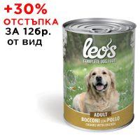 0217Консерва Dog LEOS Adult Chicken 1230 g -хапки за зряла възраст с пилешко