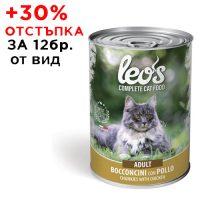 0255Консерва Cat LEOS Adult Chciekn 415 g – хапки за зряла възраст с пилешко