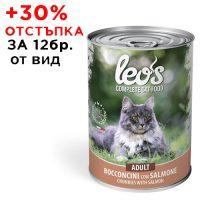 0293Консерва Cat LEOS Adult Salmon 415 g – хапки за зряла възраст със сьомга