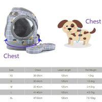Светлоотразителни нагръдници с повод 1,25м за кучета от дребни породи и малки кученца