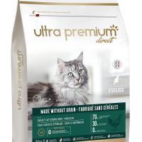 Ultra Premium Direct Adult cat sterilised – Indoor – Суха храна за пораснали кастрирани котки, отглеждани вкъщи, без зърно, 70% месо и месни съставки, 7 кг