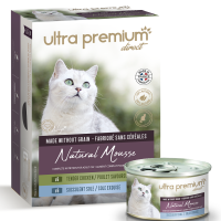 Ultra Premium Direct Natural Mousse – Tender Chiken & sole – Мокра храна за пораснали котки – мус с два вкуса – пиле и свинско и пиле, свинско и морски език, без зърно; 0,0850 кг