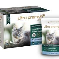 Ultra Premium Direct Tender chunks in gravy with salmon & cod – Мокра храна за пораснали котки с риба и два вкуса – свинско, пиле със сьомга и свинско, пиле и риба треска, без зърно; 0,0850 кг
