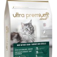Ultra Premium Direct Adult cat sterilised – Indoor – Суха храна за пораснали кастрирани котки, отглеждани на закрито, без зърно, 70% месо и месни съставки, 3 кг