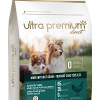 Ultra Premium Direct Country farm Adult dog&puppy all breeds – суха храна за кученца и пораснали кучета от всички породи, без зърно, 65% месо и месни съставки, 4 кг