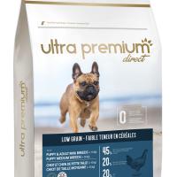 Ultra Premium Direct Puppy&Аdult mini breeds & Puppy medium breeds – суха храна за кученца и пораснали кучета от мини породи и кученца от средни породи, с ниско съдържание на зърно, 45% месо и месни съставки, 4 кг