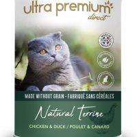 Ultra Premium Direct Natural Terrine chicken – Мокра храна за пораснали котки с пиле и патица, 70% месо и месни съставки, без зърно; 0,400 кг