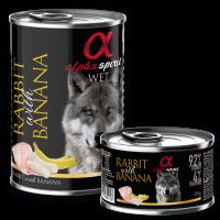 Alpha Spirit Complete WET Dog Food, Rabbit with Banana – Пълноценна мека храна със Заек и Банан 400 гр