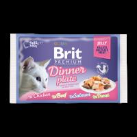 Brit Premium Cat Pouch Dinner Plate Jelly -Пълна Премиумна Мокра Храна за Възрастни Котки 4*0,85 -0,34 кг