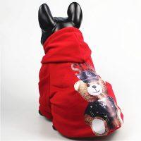 Суитчър червен цвят с качулка за кучета от малки породи или котки