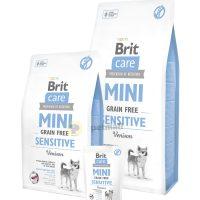 Пълноценна суха храна Brit Care Mini Sensitive Grain Free за чувствителни и капризни кучета от малките породи, с 40% прясно еленско месо 7 кг