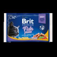 Brit Premium Cat Pouches Fish Plate -сьомга, пастърва, треска -0,4 кг