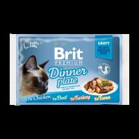 Brit Premium Cat Pouch Dinner Plate Gravy-Пълна Премиумна Мокра Храна за Възрастни Котки 4*0,85 -0,34 кг