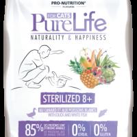 Pure Life Cat STERILIZED 8+ С ПАТЕШКО И БЯЛА РИБА 8kg – без зърнени храни, 85% протеини от животински произход