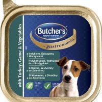 Butcher's Gastronomia с пуешко , дивеч и зеленчуци (моркови и грах), пастет  за кучета 150 г