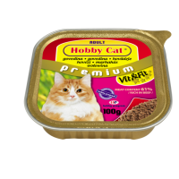 Hobby Cat Adult – консерва за котки с говеждо, 100 г, с богато съдържание на месо