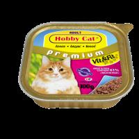 Hobby Cat Adult – консерва за котки с риба, вкл. сьомга, 100 г, високо съдържание на месо