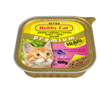 Hobby Cat Kitten – консерва за подрастващи котки 100 г, с пиле, с високо съдържание на месо