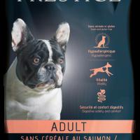 Prestige Adult CEREAL FREE with SALMON, 12 kg – Пълноценна храна за пораснали кучета от всички породи. Подходящо е да се предлага и на чувствителни кучета и/или такива с непоносимост към зърнени храни или глутен