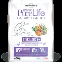 Pure Life Cat STERILIZED 8+ С ПАТЕШКО И БЯЛА РИБА 400 g – без зърнени храни, 85% протеини от животински произход
