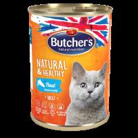 Butcher Natural & Healthy 400г – Хапки в желе за котки, с пъстърва