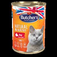 Butcher Natural & Healthy 400г – Хапки в желе за котки, с говеждо
