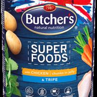 Butcher Superfoods 400г – Хапки в желе за кучета, с пилешко и шкембе