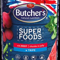 Butchers Superfoods 400г – Хапки в желе за кучета, с говеждо и шкембе